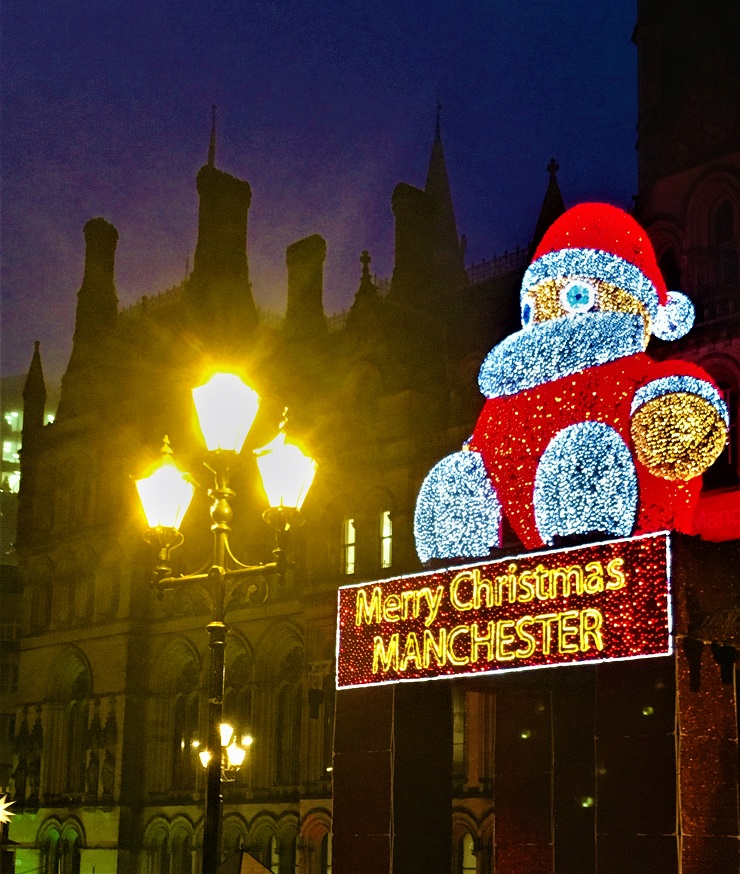 Giant Santa at Gothic Manchester City Hall