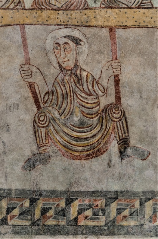17th-century fresco of St Proculus on a swing