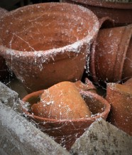 Artificial spider webs add authentic look to pots