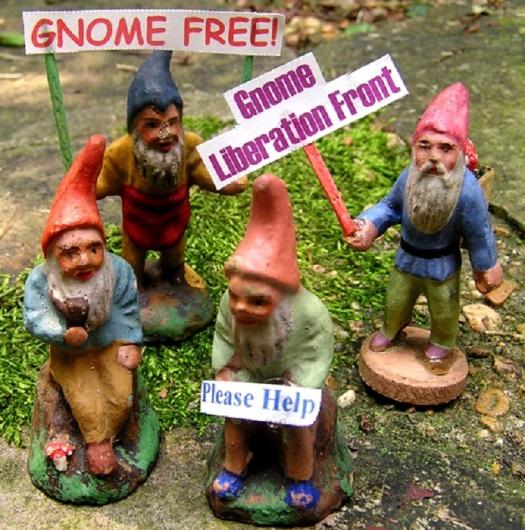 gnome free protest in felder's garden