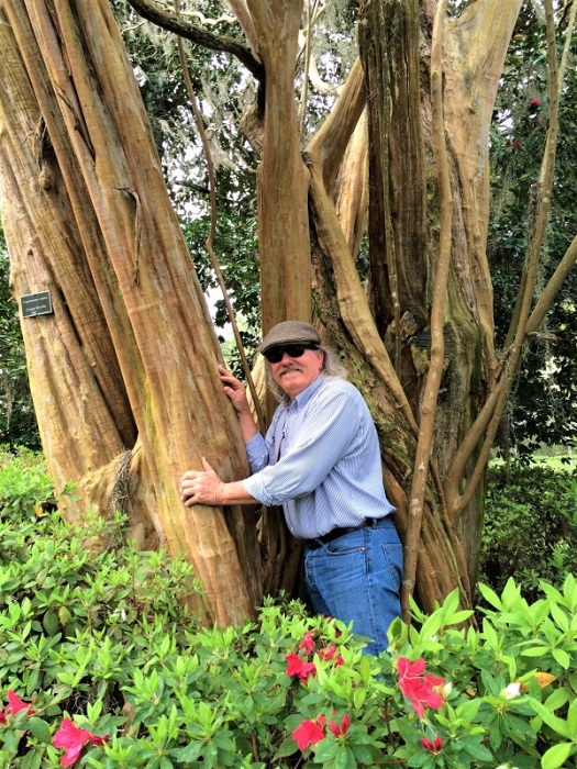 Felder hugging the oldest crape myrtle in America (Middleton Place, South Carolina)