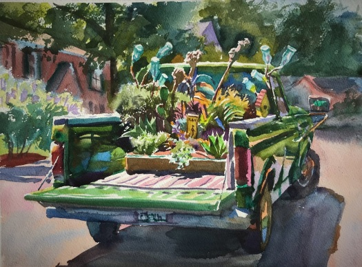 Wyatt Water's watercolor of Felder's Truck with a garden in the back