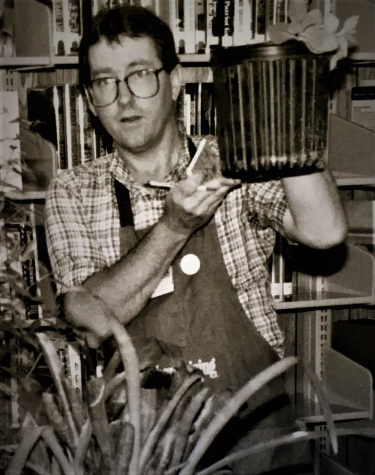 Felder at the first Flora Plant Swap, 1990