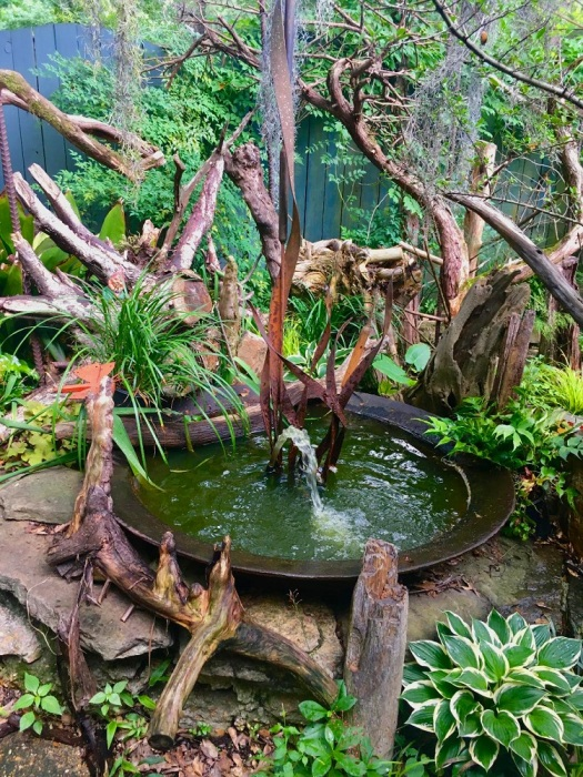 Felder Rushing's water feature and stumpery